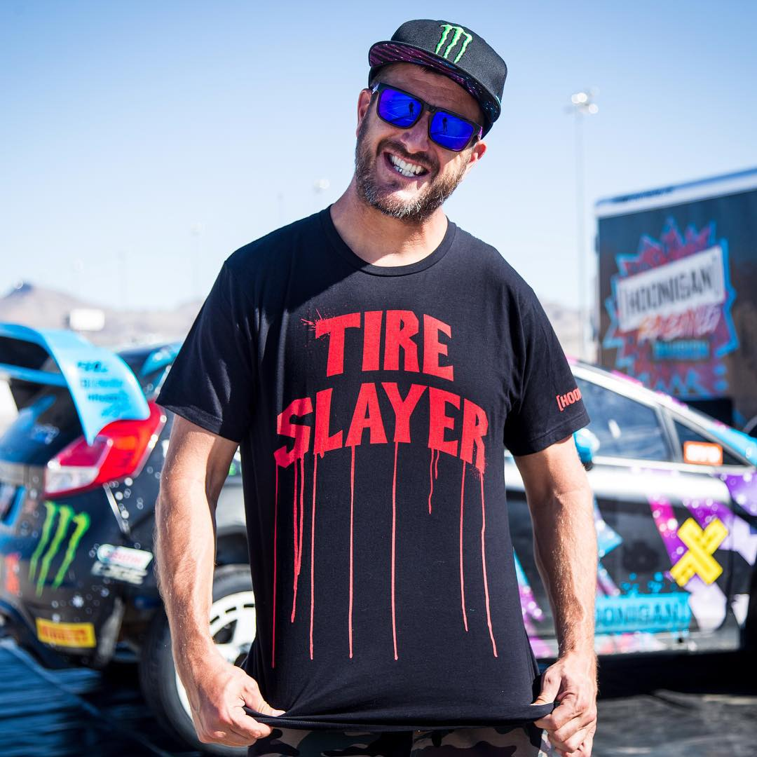 My job description for today. Ha. @TheHoonigans gave me this just-released shirt to remind me of what I need to be today, during my Gymkhana tire test. Available now at #HooniganDOTcom! #tireslayer #lovemyjob