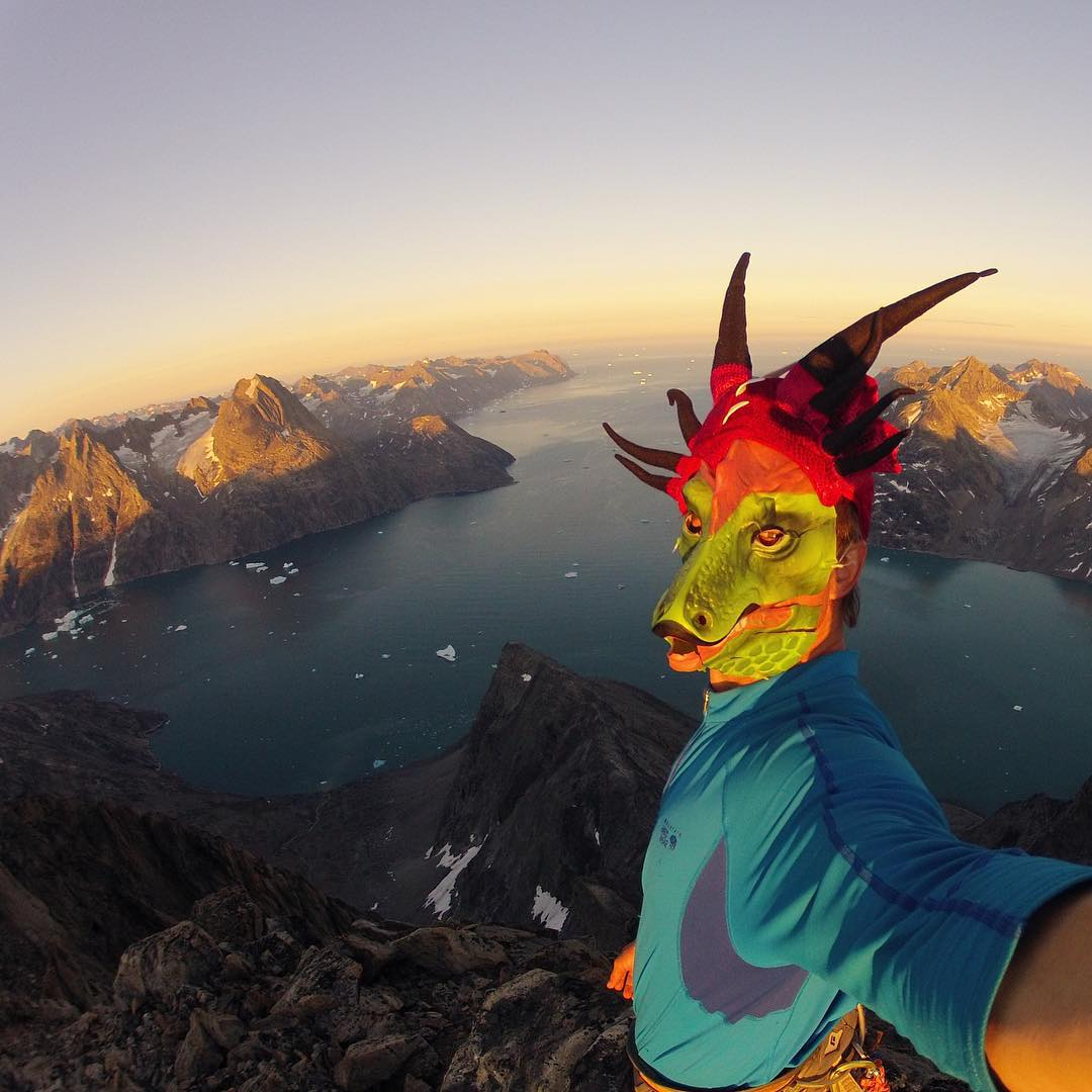 Big wall climber and ASC athlete @mikelibecki is presenting at @natgeo this week about his work with ASC during a recent expedition to #Greenland. It's pretty awesome to have a dragon on our team.  #adventurescience #adventureselfie #uptop