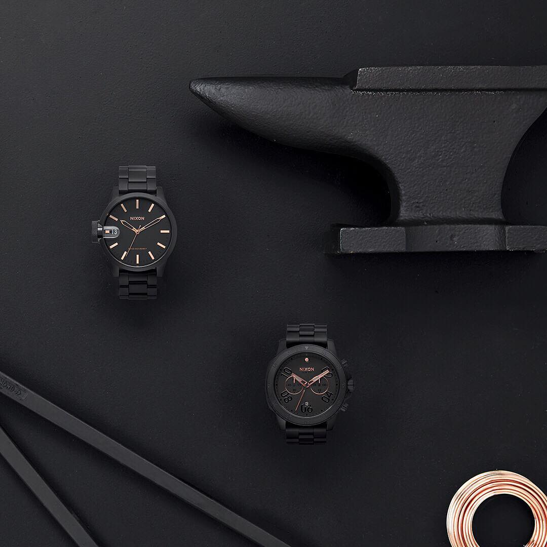 Dark and stormy. Welcome the #Nixon Black Rose Gold Collection.  #NixonNow