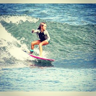 Great shot of 9 year old surfer and skater @breesmithsurfer taking on the waves! ☀️