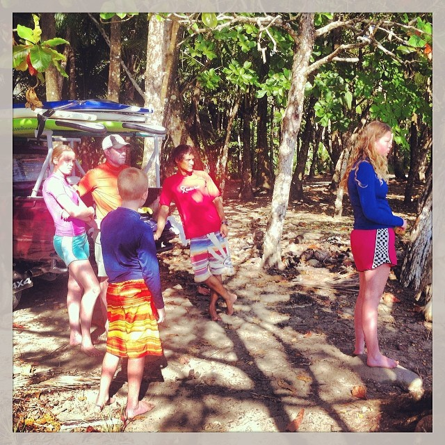 Assessing the #surf for the afternoon session with this family who is on their #costarica #surfvacation