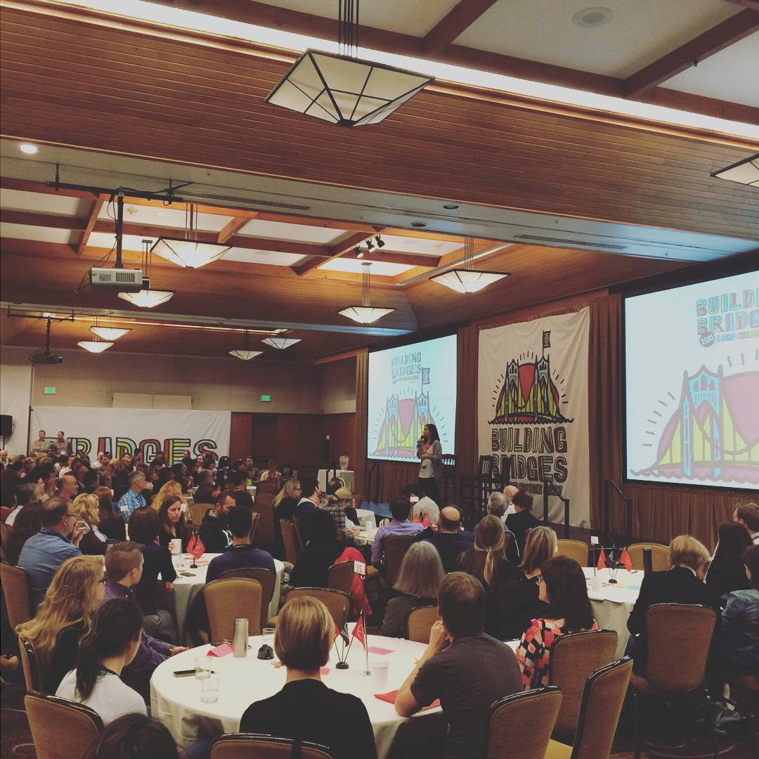 Champions Retreat starts now! 400+ people kicking off the #BCorp Retreat at Skamania Lodge and discussing the theme of building bridges #BtheChange