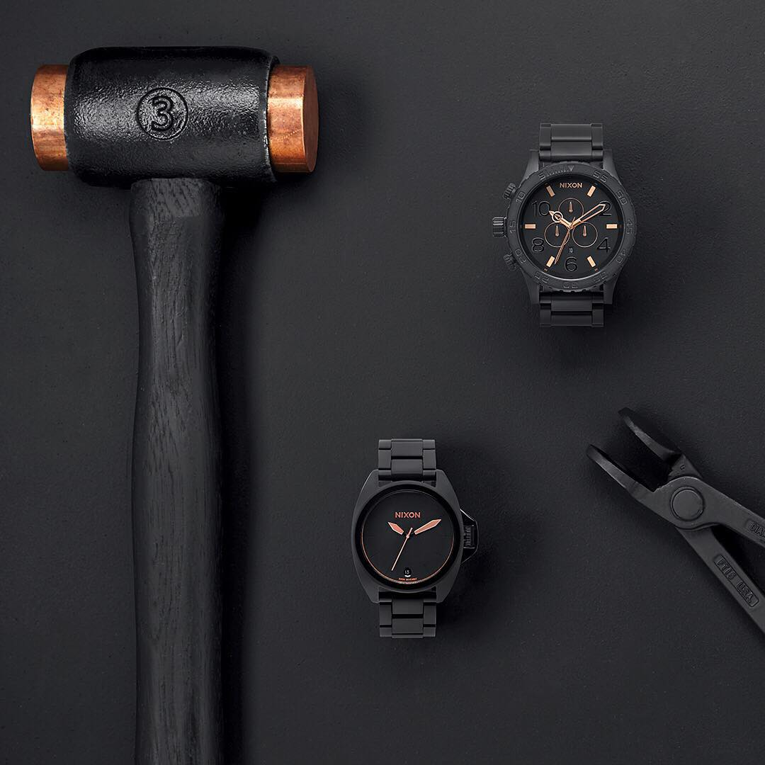 Rich, black-plated stainless with hits of rose gold detailing. Introducing the Black Rose Gold Collection, new and now available. #NixonNow