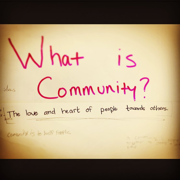 SOS University Year 3 youth tell us what community means to them. What does #community mean to you?  #sosoutreach #sosfamily #inspireyouth #epicpromise #givewhereyoulive #givethegood #snowboarding #skiing #love #heart #communityfirst #communityservice...