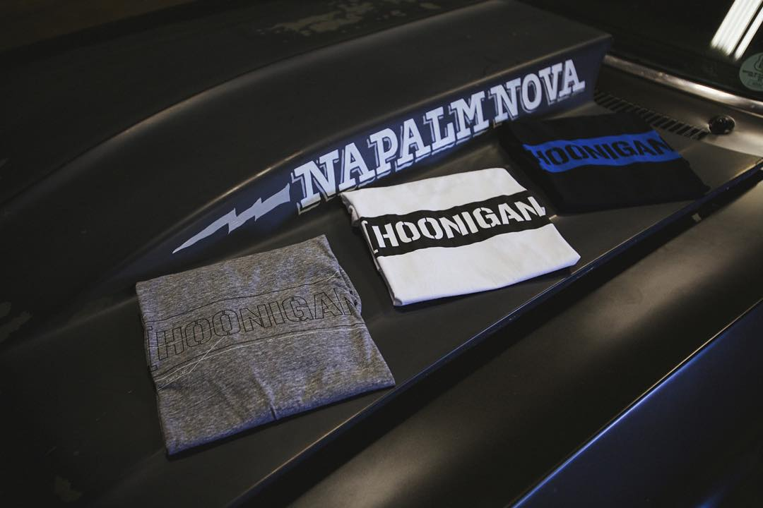 When not destroying tires the #NapalmNova gets used and abused as a prop. The #HNGN C-bar tee in different flavors. Get a taste on #hooniganDOTcom or click through the link on our bio!