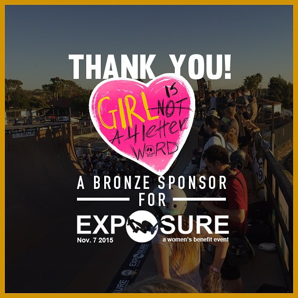 Thank you to @girlisnota4letterword confirmed to be a bronze sponsor for Exposure 2015!! There are plenty of partnership opportunities still available, email partnerships@exposureskate.org to find out how you can help empower girls through skateboarding!
