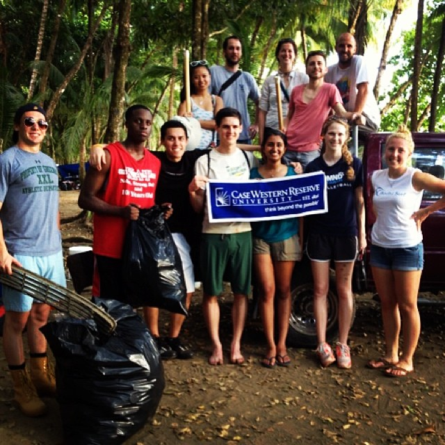 A picture from last week's beach cleanup with Case Western Reserve University as well as some other visitors and locals! Combining surfing with service: win-win for all!