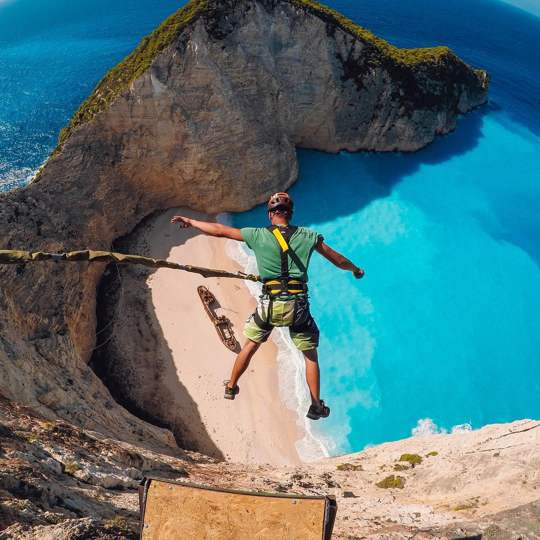 Airidas Vaičiūnas of Lithuania's @rocknropejt jump team sending it high off the cliffs of #zakynthosisland as our first GoPro Awards recipient! Share your favorite photos and videos with us by following the link in our profile!