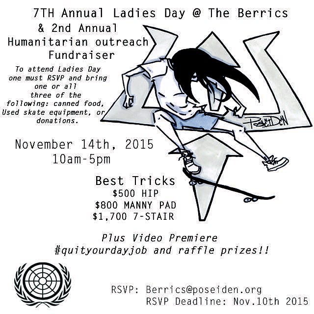 Ladies! If you are coming to town for #exposure2015 make sure to extend your trip to include Ladies Day at the @berrics ! Thank you @poseidenfoundation for getting this amazing event together!