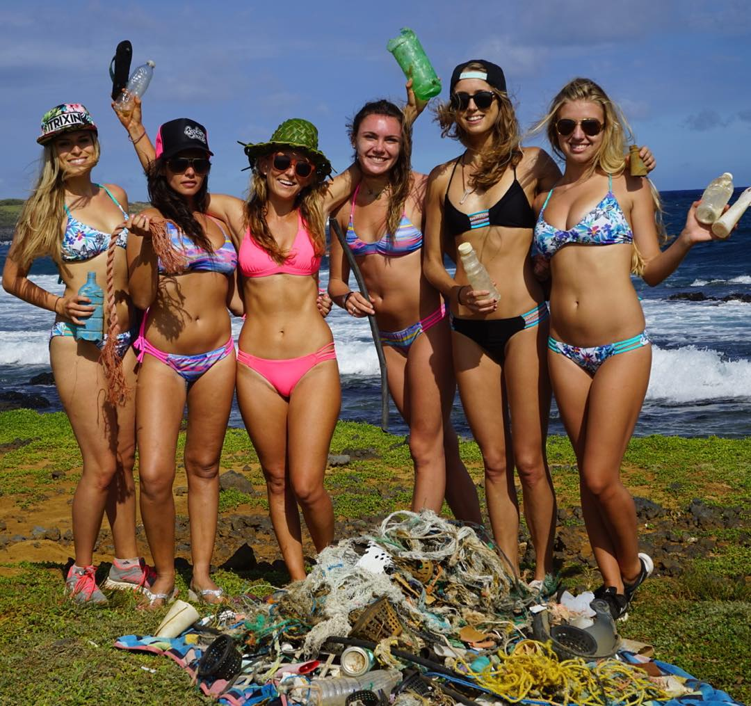 Today I cleaned up the southern most tip of America with these lovely ladies -while wearing @odinasurf bikinis made from plastic bottles! #Roadtokontiki #BeachCleanup #AlisonsAdventures