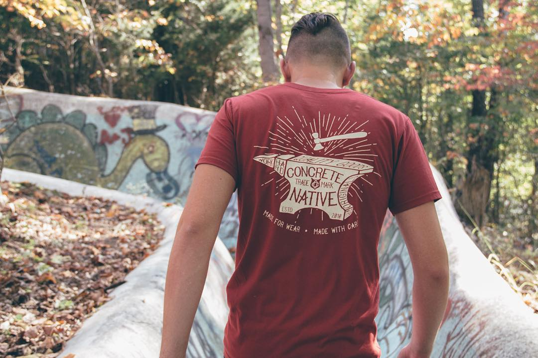 PRODUCT FEATURE: The Disarm Tee  This deep red and beige tee feels like fall to us. And on lightweight 100% organic cotton, you can feel good about wearing it.  #concretenative #midwest #skatelife #sk8life #skateboarding #longboardlife #adventure...