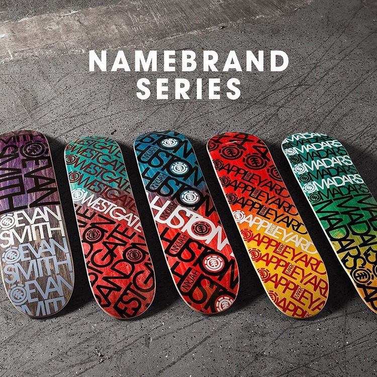"Introducing the latest boards from #Element, The ""Namebrand Series"" >>> Dip-Dyed veneers available in a variety of sizes… Head to your local shop or ElementBrand.com and pick one up today! #elementskatebaords"