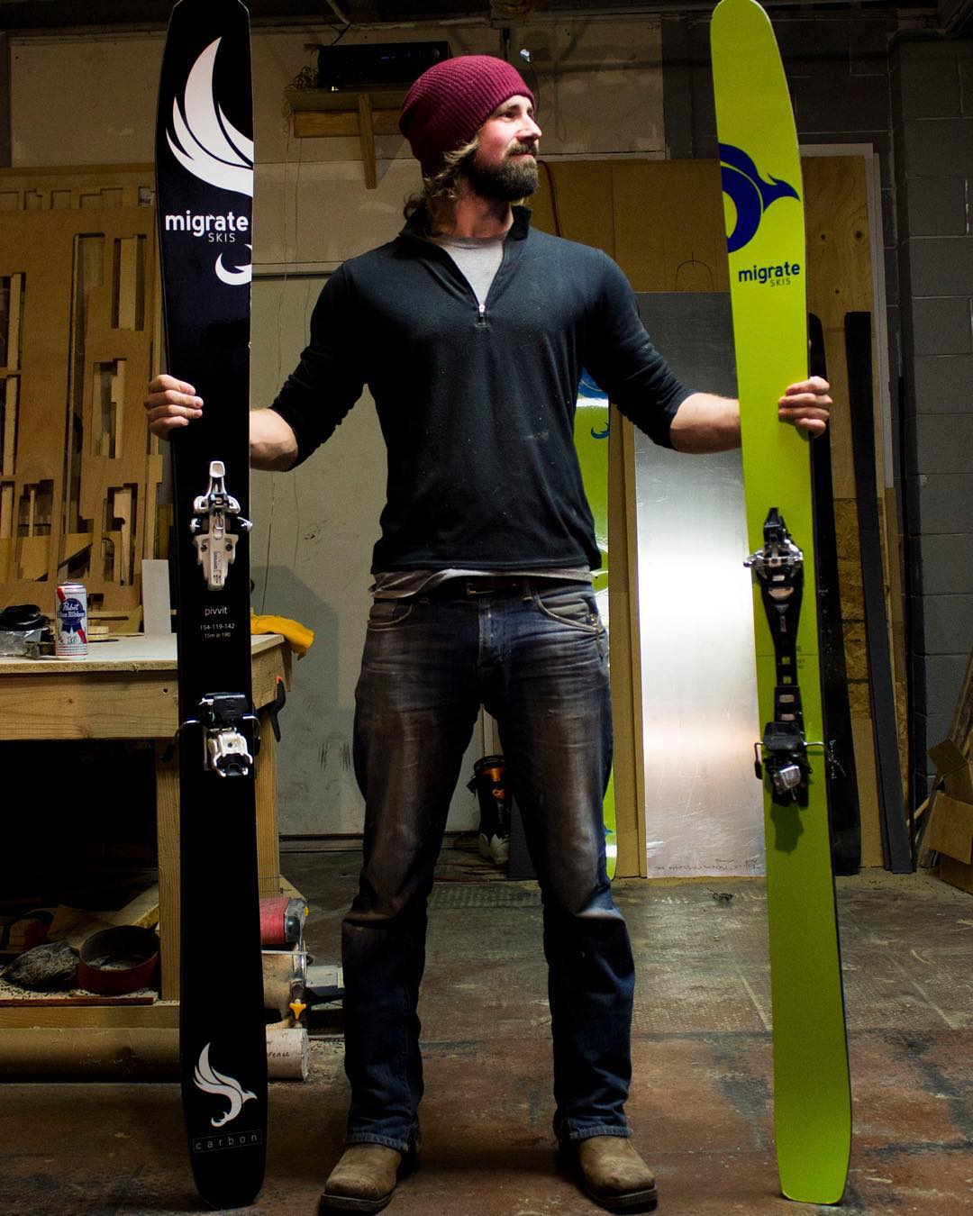 Carbon fiber skis made right here in our Denver shop!  Our flagship ski is the yellow Plunge and only weights 3.5lbs @ 190cm and 108 underfoot. In black is the Pivvit and weighs 4lbs @ 190cm and 119 underfoot!! All our skis come with a 3 year warranty!...