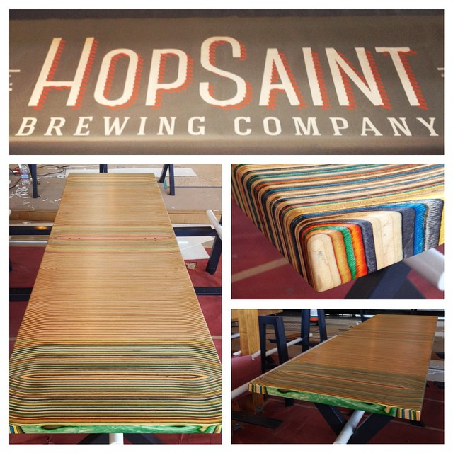We just dropped off some 8 foot tables for @hopsaintbrewco in Torrance. The grand opening is very soon. If you love great beer and food then this place is for you! #irisskateboards #hopsaintbrewco #recycledskateboards #eatheredrinkrealbeer