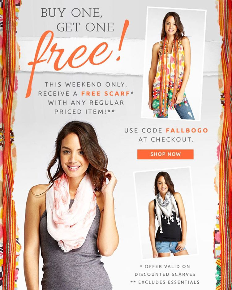 Weekend Exclusive! Receive a FREE scarf with any regular priced item. Use code FALLBOGO at checkout! #shopnow #fall #scarfs #threads4thought #livesustainably