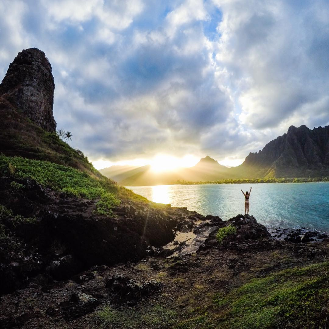 GoPro Featured Photographer - @travisburkephotography  About the Shot: As our group of friends set out on paddle boards to reach a small island off Oahu, #Hawaii we knew it would be an exciting evening. Just before we arrived the sun started to peak...