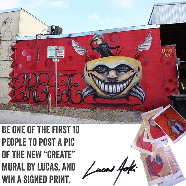 "If you are a fan of @lucasaokiart (as much as we are!) then this is your chance to snag a signed print by him! • • The first 10 people to take a picture of his new ""Create"" piece somewhere in downtown Austin TX. & post with @spratx @lucasaokiart..."