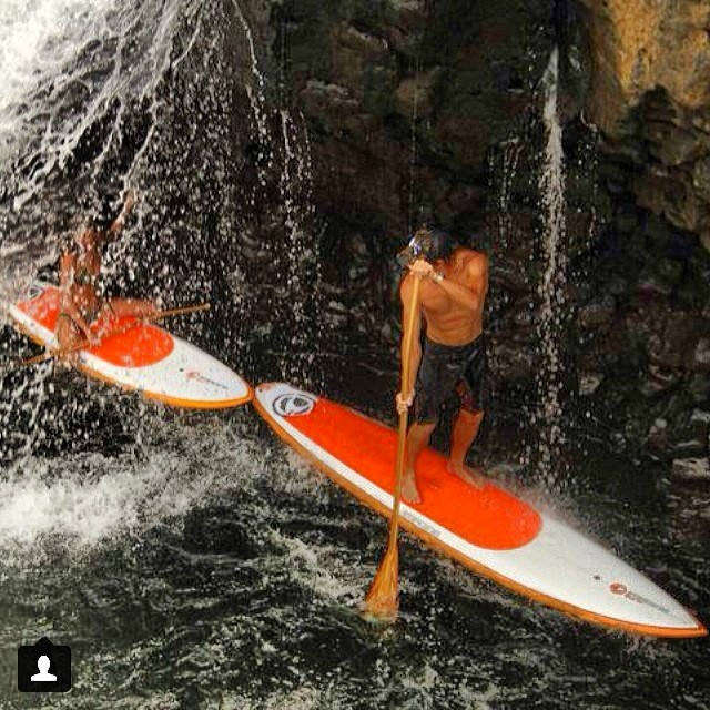 @swellliving and @paddlehawaii #exploring #hidden #treasure on #bigisland #waterfall #barrel #bohoshort #bohosurf #standuppaddle #sup #adventure #bikiniadventure