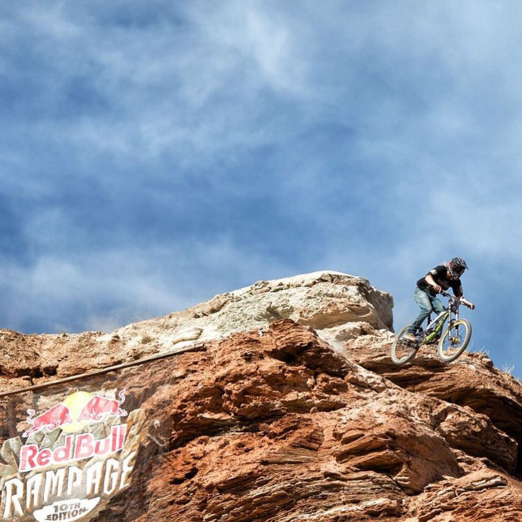 Triple photo panel of @wil.rides.bikes sending the ridge line while being chased by the heli. See our main page for the full panel view. #rampage2015 #gettozechoppa