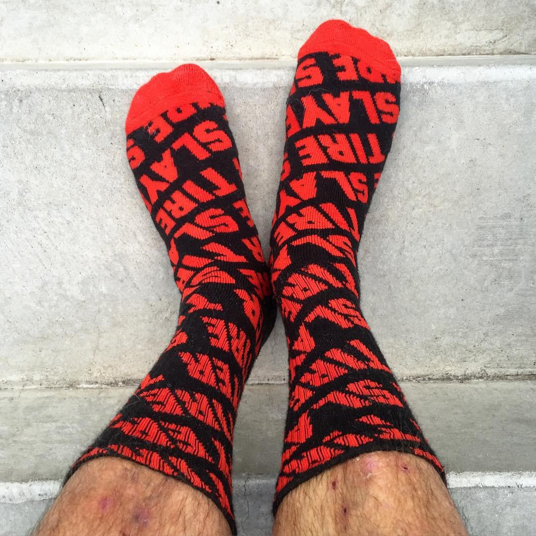 My favorite new reminder about my job: Tire Slayer socks! Thanks Hoonigan, for this friendly reminder that I can wear on my feet every day. #jobresponsibilities #tireslayerperformancegear #tireslayer #SOTD #speedsocks @TheHoonigans