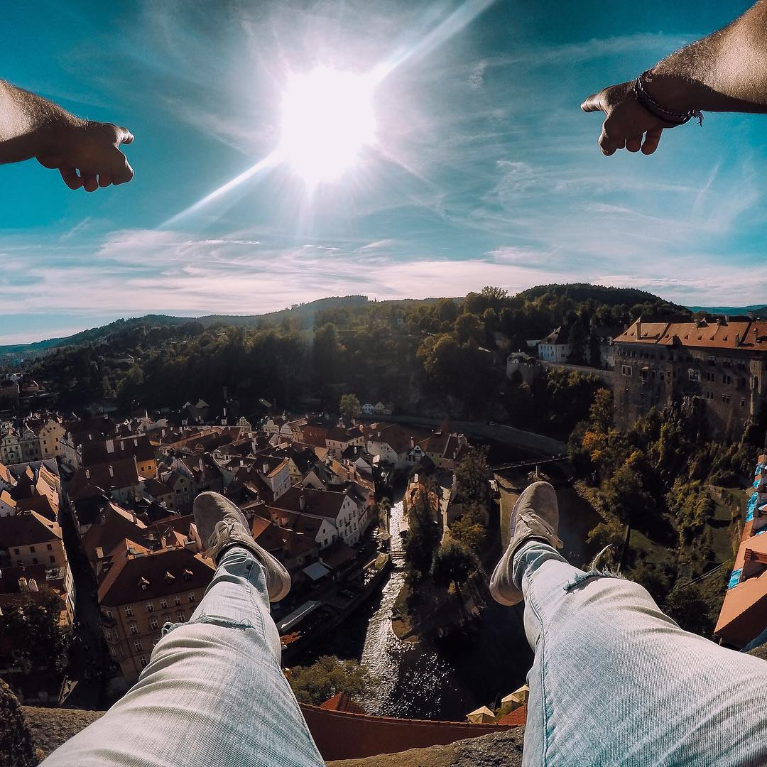 Photo of the Day! Hanging out and soaking in the view of Cesky Krumlov, Czech Republic.