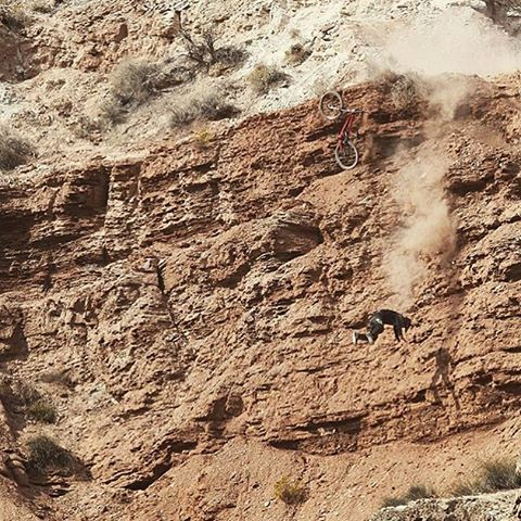 Somehow @nicholirogatkin survived this fort foot plus tumble down a cliff and managed to ride away.  To learn more about the harrowing experience, tune into Good Morning America tomorrow at 7:45 AM. | #Rampage #VisorOptional