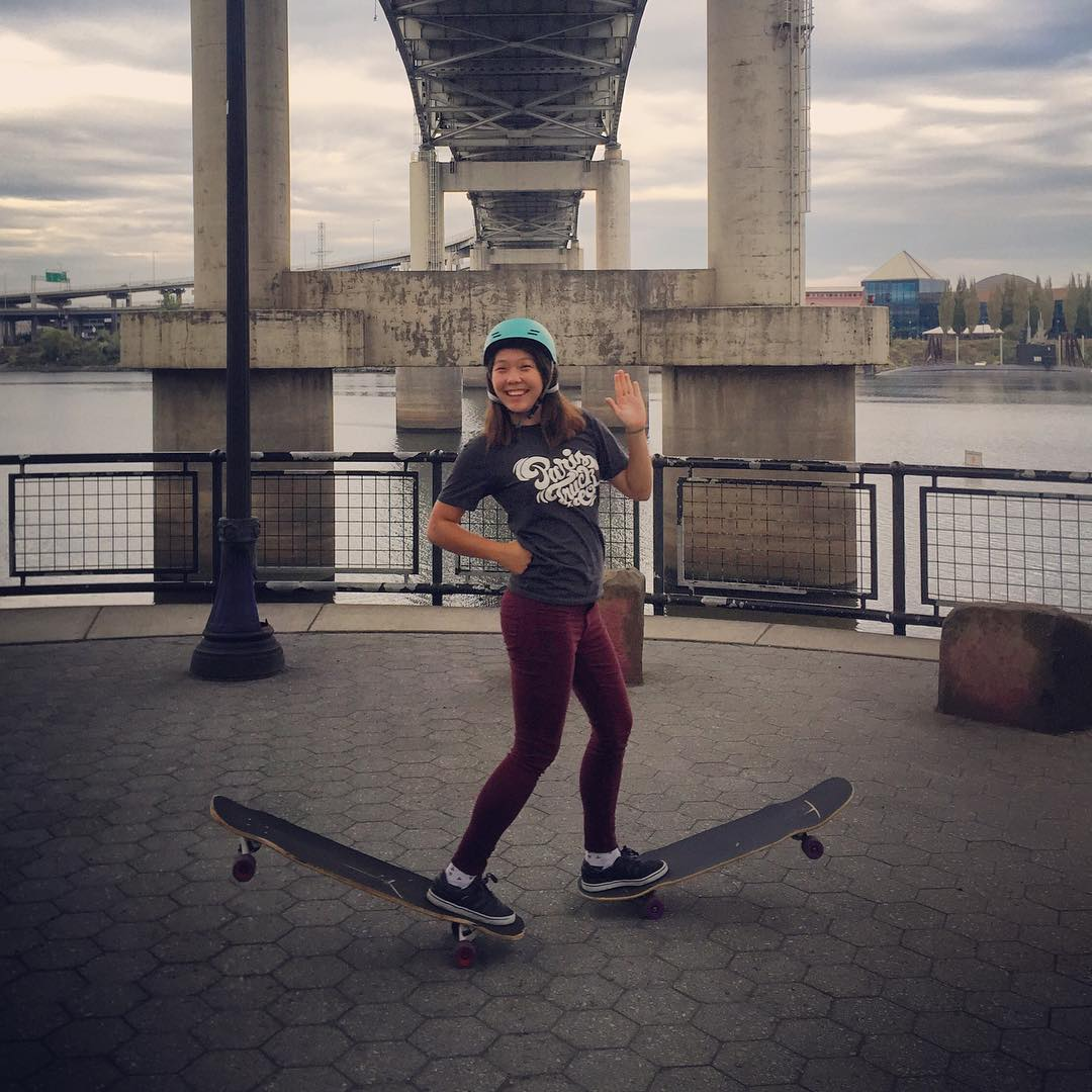 Check out team rider @iamcindyzhou having fun Daffy'ing around #Portland, Oregon!