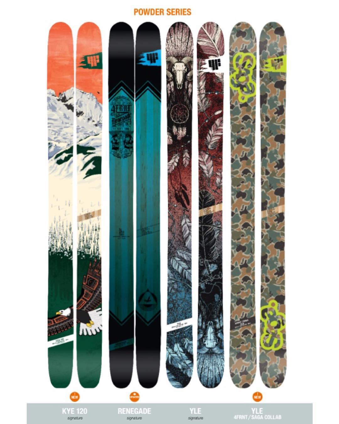 These cooler days got us thinking about deep blower pow days. Here's our deep snow collection. The all new Kye 120, our most versatile hard charger that's playful enough to spin threes mid pillow line. Updated Renegade with Vibeveil and ABS sidewalls....