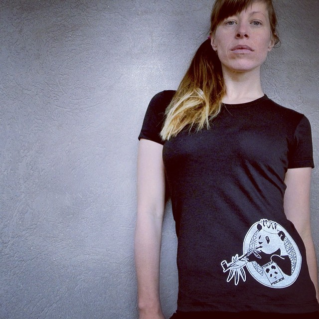 "Women's ""Peace Panda"" T available on the website tomorrow! www.pandapoles.com/collections/swag  Self portrait by @mophofomo  #pandapoles #peacepanda"