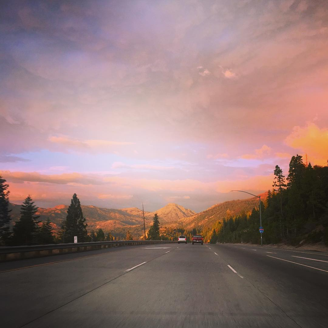 You can aways find me rockin' down the highway with my rose-tinted glasses on #Tahoe #tahoelife #alpenglow #lategram #mondaymotivation #roadtrippinwithrachel