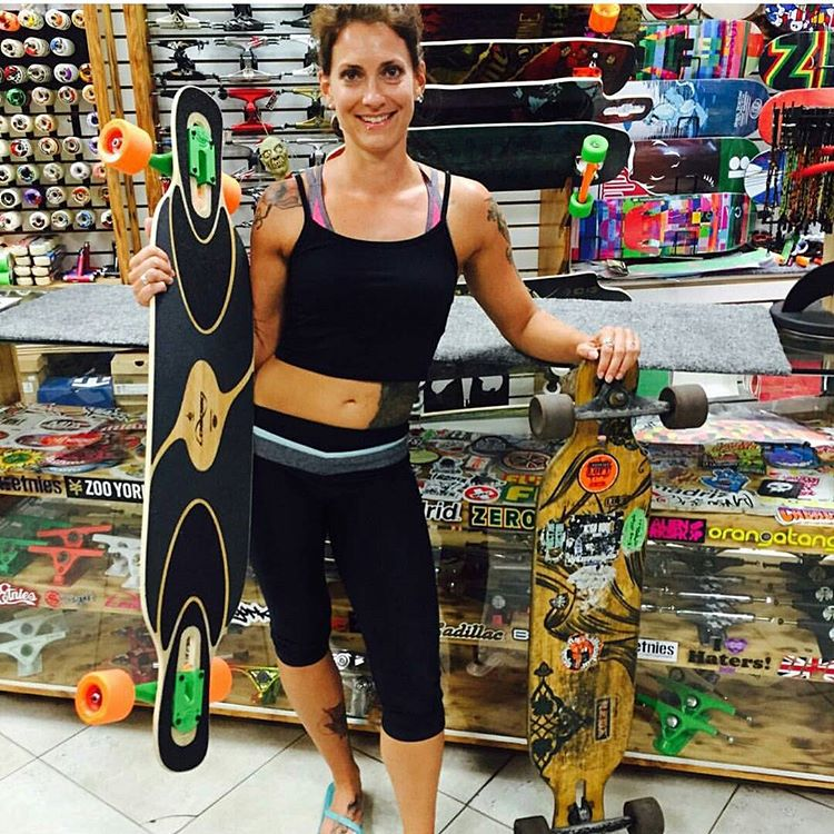 #Regram from @highfivesk8 of happy looking #DervishSama owner @danikasita getting an upgrade from her old and fully used deck!  #LoadedBoards #Orangatang