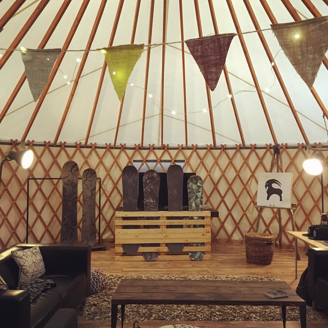 Clinic time in the backcountry.com yurt! This is one of the coolest office spaces we've been in so far. What do you guys think?!