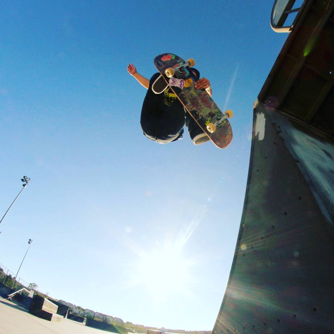James Tracey--@deadbear13 airs out of the quarter pipe on the Facemelt street deck!