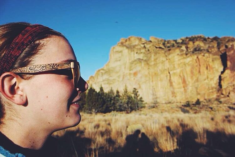 @ellie8498 enjoying her Bosky sunglasses on a sunny day at Smith Rock! #photooftheday #boskyrocks  #rockpuns