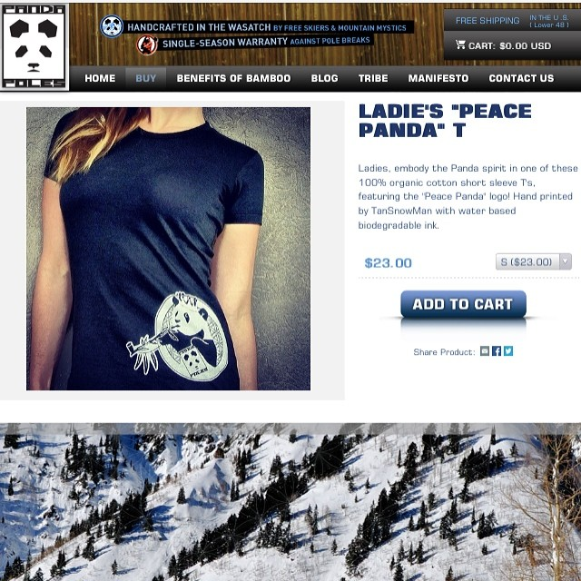 "Ladies ""Peace Panda"" T now available on our website for $23! FREE SHIPPING in the LOWER 48! www.pandapoles.com/collections/swag  #pandapoles #peacepanda"