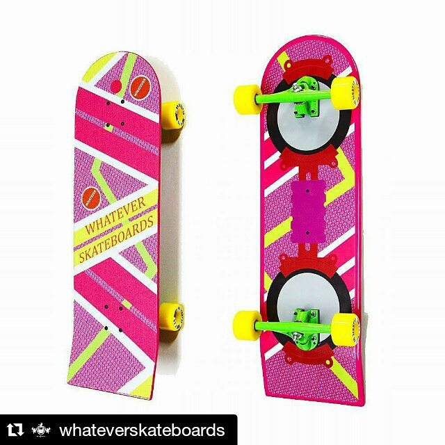 Check out this cool deck. Today is the day that Doc Brown and Marty landed. No hover cars yet but getting there for hover boards!  #Repost @whateverskateboards ・・・ WE JUST LAUNCHED #HOVERBOARD #SKATEBOARDS! Backside to the future with our brand new...