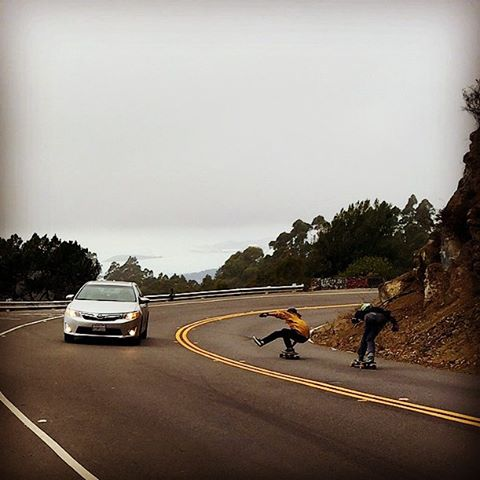 Stefan Kaiter-Snyder--@skaiter_art hangs one out on the MC Cat board while skating with local Remmy in the Oakland hills!  #stefankaitersnyder #mccatboard #bonzing #oakland @randaltrucks @orangatangwheels