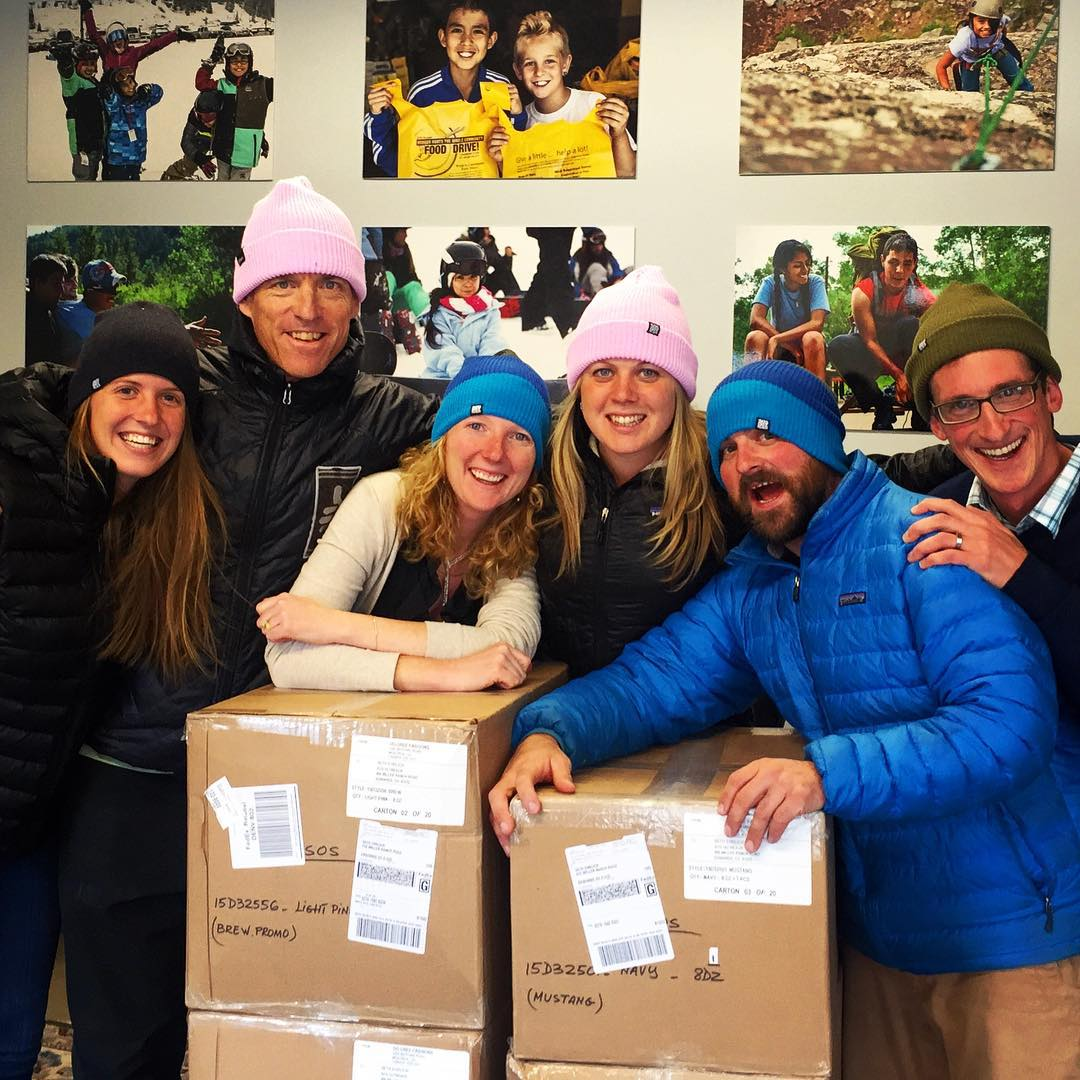 SOS Eagle County staff showing off our 2015 shipment of #chaos hats! Can't wait to get all 1900 of these out to #sosyouth this winter. Huge thanks to @chaosheadwear for their unwavering support.  #inspireyouth #skiing #snowboarding #winteriscoming...