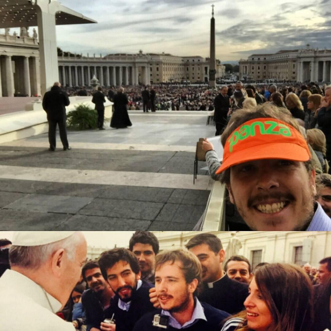 #Yoteavise que las visceras panza iban a llegar lejos...mira nomas...llegaron al #vaticano !  Deci que @nicolasfll es educado y se la saco para saludar a #Francisco sino lo teniamos al Papa #metiendopanza