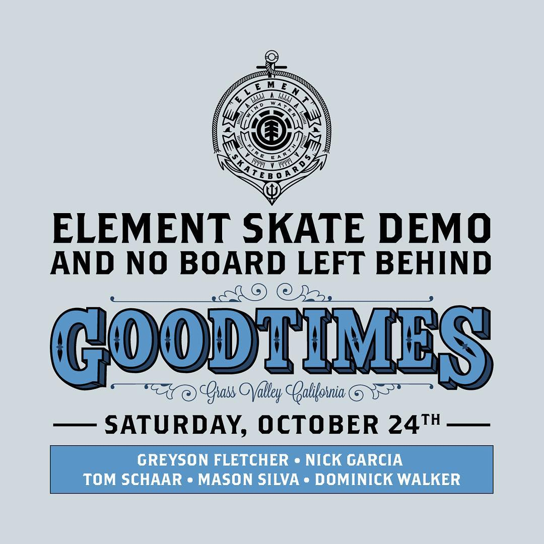 This Saturday, in honor of @greyson_fletcher going pro, were holding a demo/ #noboardleftbehind event at @goodtimesgv in Grass Valley, CA. #NBLB starts at 1 at the shop, team demo at the park at 4. Hope to see you guys there! #Greysonispro