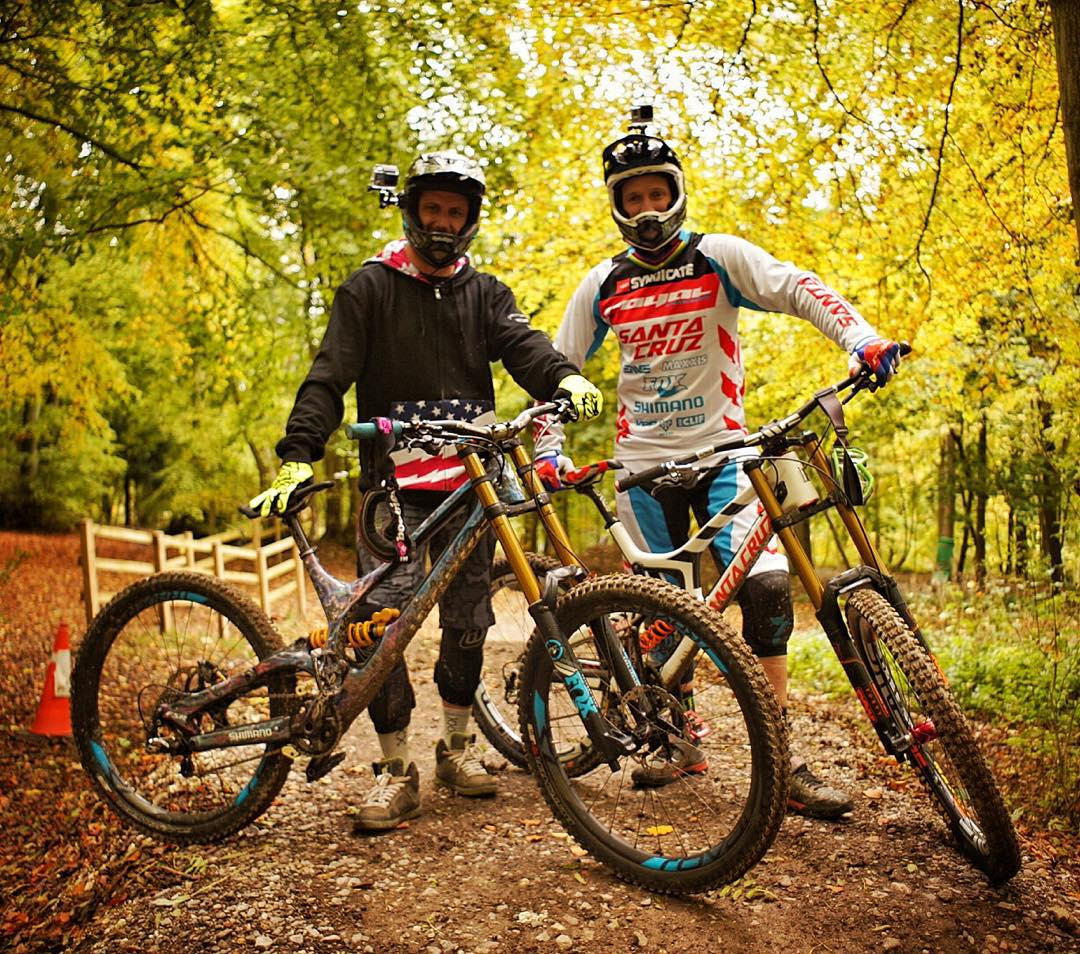 My trip here in the UK keeps getting better! Rode with my fellow @MonsterEnergy athlete/downhill mountain bike World Cup Champion @StevePeat at Aston Hill mountain bike park. Solid way to beat the jet lag feeling this morning! #peatyistoodamnfast...