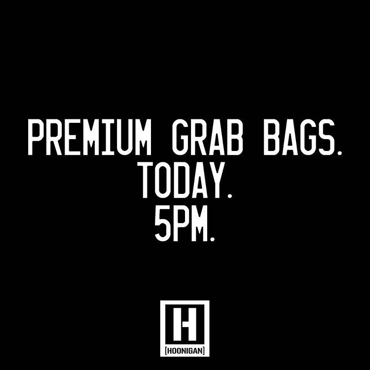5PM (PST) our Premium Grab Bags will hit hoonigan.com. It's over $100 worth of #HNGN gear for only 50 bucks. Get those clickers ready cause when they're gone, they're gone!