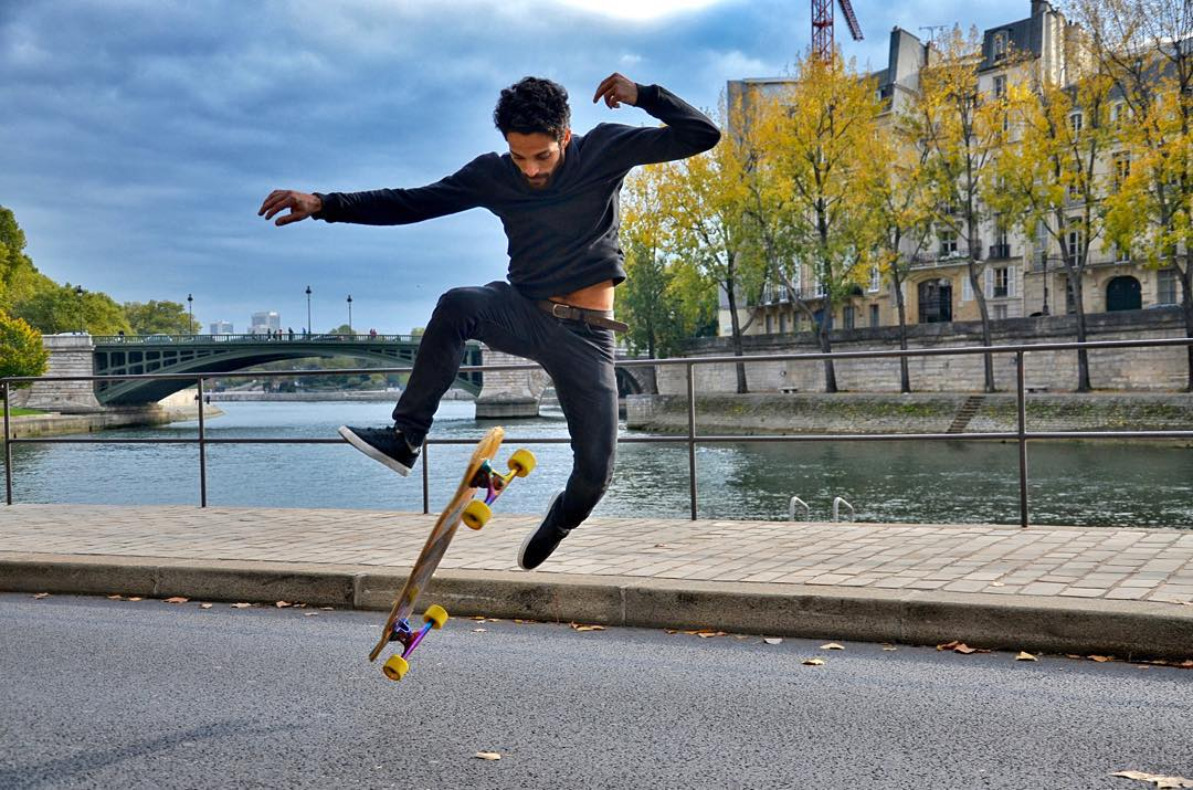 @lotfiwoodwalker has been putting his Electro Luxe #Savants through the ringer over in #Paris and he couldn't be happier. Nothing wrong with matching a skater who looks good with trucks that look good!