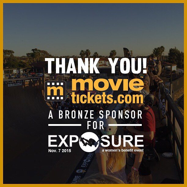Thank you to @movieticketsdotcom confirmed to be a bronze sponsor for Exposure 2015!! There are plenty of partnership opportunities still available, email partnerships@exposureskate.org to find out how you can help empower girls through skateboarding!