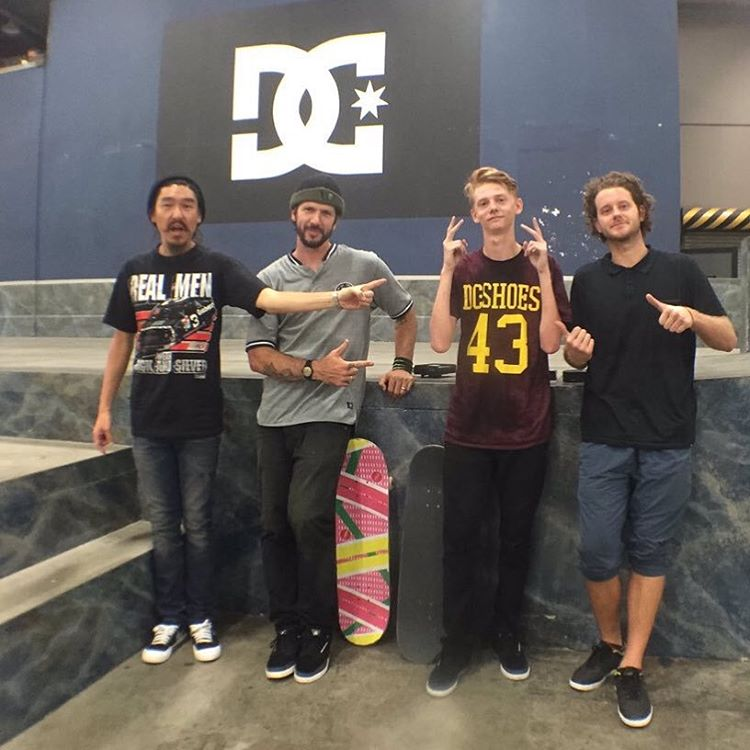 #ColeNBD video contest winner @jake_blue hanging with @chriscobracole, @chaseingabor and @yoonicorn213 at the @berrics on his grand prize trip to LA. Congrats again, Jake! #ChrisCole #DCShoes