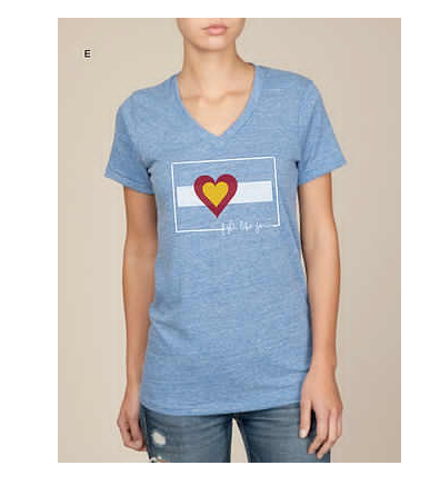 Big Colorado Love Fight Like Jenn Women's V-Neck: Eco Royal / Gray