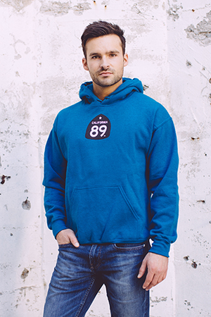 California 89 UNISEX SWEATSHIRT HOODED SHIELD ON FRONT CA*89 ON BOTTOM RIGHT BACK