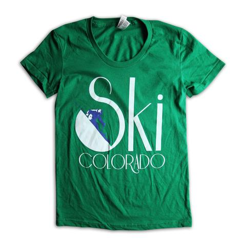 Tees - Kind Design Ski Colorado T-Shirt (Green / Women)