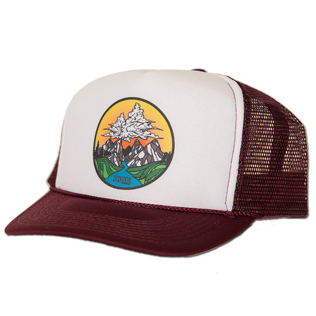 Rise Designs Cloud Mountain Trucker Hat - Maroon White