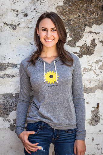 California 89 WOMEN'S LIGHTWEIGHT PULLOVER, BIKE BACK, SUNFLOWER FRONT